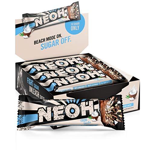 NEOH Lowcarb Protein Riegel Kokos | 1g Zucker / 97 kcal / 26% Protein pro Riegel | Ohne Zuckerzusatz | Vorteilsbox 12x30g | Kokosnuss