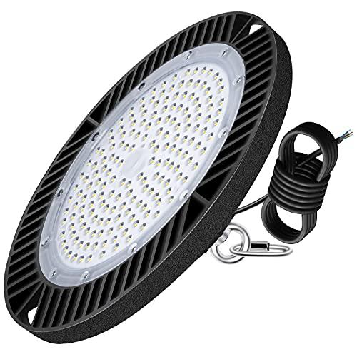 Kingwei 150W UFO LED Iluminación, Lámpara Alta Bahía 21000LM Focos Led Interior Techo 6500K Industrial LED Iluminación Comercial IP65 Impermeable para fábrica, almacén, estadio, restaurante
