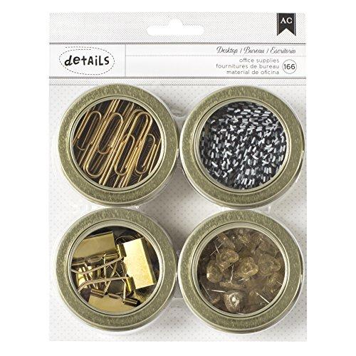 American Crafts Vorteilspackung magnetische Bürodosen, 6,4 cm, 4er-Pack, Sortiment Nr. 2, 166 Stück, Sonstige, Mehrfarbig, 16.2 x 20.39 x 2.66 cm