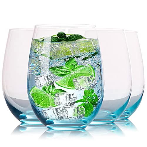 Juego de 4 copas de vino tinto sin tallo XJJDCB de cristal soplado a mano colorido vaso de vino para whisky, cócteles, jugo, copas de vino tinto multiusos y copas de vino – 17 onzas
