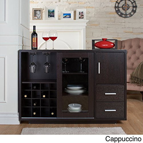Julienne Modern Furniture of America Sliding Door Wine Bar Dining Server (Cappuccino)