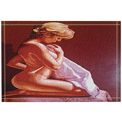 SESILY - Decoración para mujer, pintura al óleo acuarela para mujer, con diseño de arrodilladas, para bañar, bufanda, alfombra antideslizante