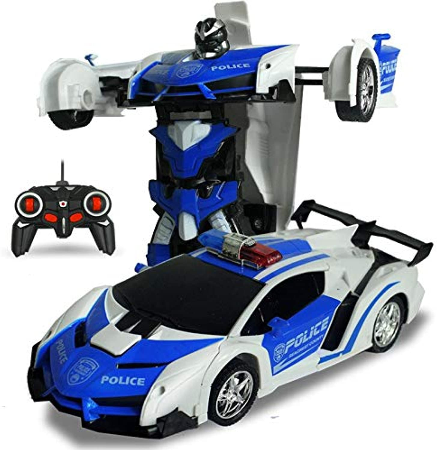 Generic 2In1 RC Car Transformation Robots Models Remote Control Deformation Car Kids Ride on Toys Police