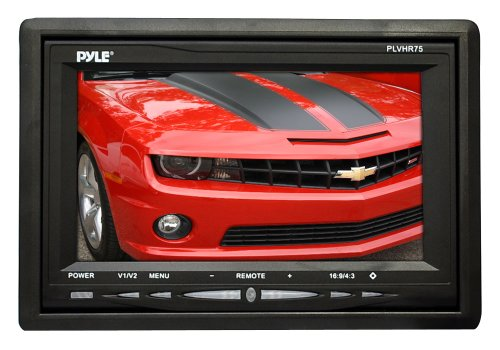 Pyle Headrest Monitor, 7-inch TFT LCD Widescreen w/ 2 Video Inputs, Wireless Remote, Cold Cathode Light, Headrest Shroud, Universal Stand Mount, Great for Road Trips, Keep Kids Entertained (PLVHR75)
