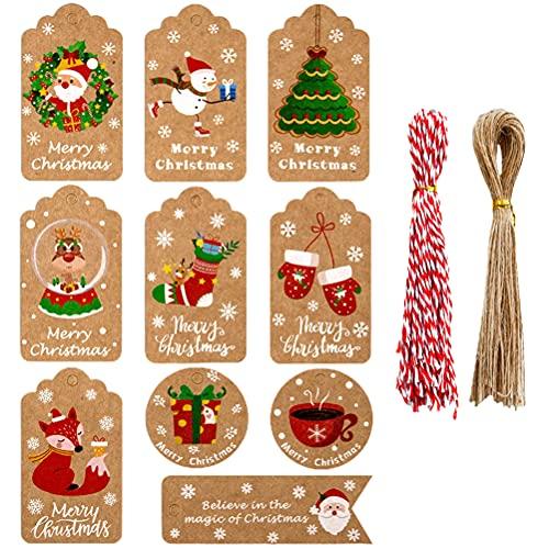 Etiqueta de Navidad retro papel kraft etiquetas colgantes Santa Claus Deer 10 Festival tarjeta DIY colgante tarjeta