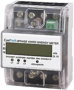 ConPush Medidor Electricidad Contador Eléctrico Trifásico LCD Función de luz de fondo Alta precisión Medidor de kWh de carril DIN Contador Eléctrico Trifásico Para Sistemas de Medida de Potencia