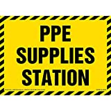 PPE Supplies Station Sign - J. J. Keller & Associates - 10' x 7' Plastic with Rounded Corners and 5mm Mounting Holes in Each Corner for Indoor/Outdoor Use
