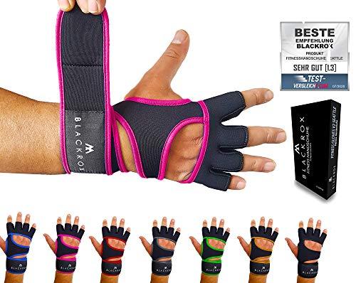 BLACKROX Guantes de fitness Seattle transpirables, con apoyo para la muñeca, para hombre y mujer, para deportes de fuerza, gimnasio, fitness, culturismo (rosa, M)