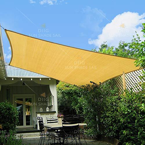diig Patio Sun Shade Sail Canopy, 8' x 10' Rectangle Shade Cloth Block Sunshade Fabric - Outdoor Cover Awning Shelter for Pergola Backyard Garden Yard (Sand Color)