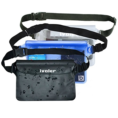 ivoler [3 Unidades] Riñonera Impermeable Universal con Correa de Cintura, Bolsa Estanca para Playa, Floating, Rafting, Kayak, Senderismo, Pesca, Escalada, Camping, etc. (Negro+Azul+Transparent)
