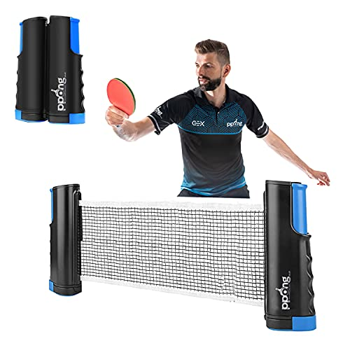 Ping Pong Net, Play Anywhere PPong Retractable Table Tennis Net for Any Table, Portable Ping Pong Net Adjustable Any Table Travel Holder Indoor Outdoor Sports