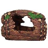 Tronco de árbol de decoración de acuario, decoración de tanque de peces de cueva de resina, refugio de cueva de piedra casa de tortuga oculta para reptil tortuga rana zoológico decoración de acuario o