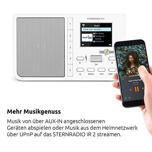 TechniSat STERNRADIO IR 2 - kompaktes Internetradio (WLAN, wechselbarer Akku, Farbdisplay, änderbare Direktwahltasten, Schlafradio-Sender, Wecker, Sleeptimer, Snooze, AUX, App-Steuerung) weiß