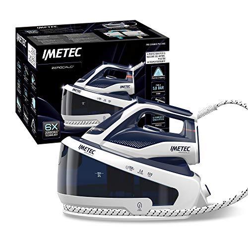 IMETEC ZeroCalc Pro PS2 2400 - Plancha de vapor con tecnología antical, hasta 5,8 bares, golpe de vapor de 260 g, placa de cerámica deslizante, 3 filtros antical incluidos, 8007403090074