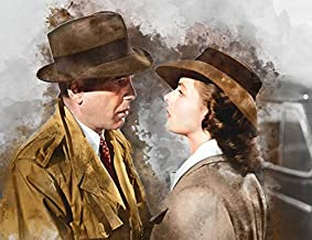 Casablanca Humphrey Bogart and Ingrid Bergman Watercolor Art Print