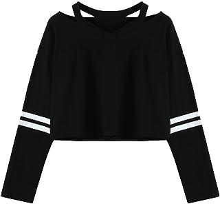 Fossen Sudaderas Cortas Mujer Adolescentes Chicas de Manga Larga Cuello en V Sudadera Casual Tops Blusas Camiseta