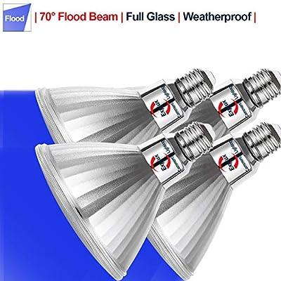 Explux PAR38 Blue LED Flood Light Bulbs, Dimmable, Weatherproof, 120W Equivalent, 4-Pack