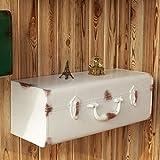 WENZHE Cube Regal Wandregal Schweberegale Storage Racks Eisenkunst Koffer Handbuch Produktion Retro Zuhause Bar Vintage-Box Zubehör, 5 Farben, 46 * 16,85 * 18 cm (Farbe : Weiß)