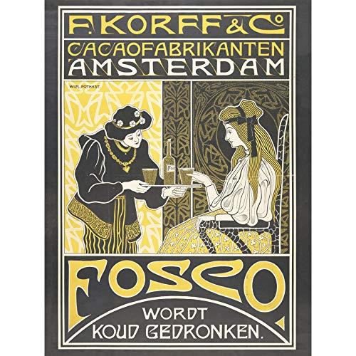 Pothast Korff Cocoa Chocolade Amsterdam Nouveau Ad Omlijst Muur Art Print 18X24