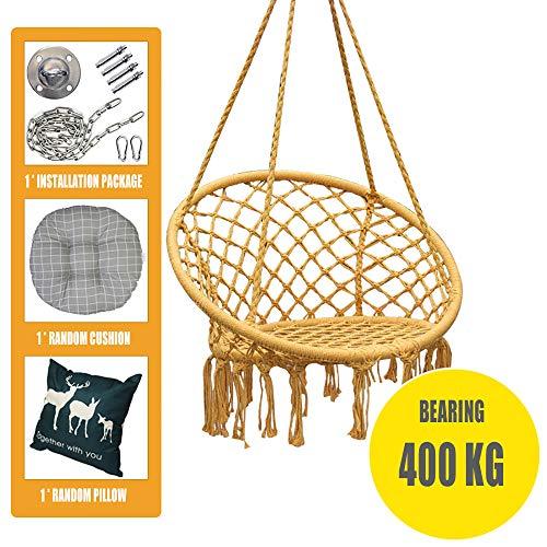 WENCY handgeweven hangstoel met franjes, voor binnen en buiten, diameter van de zitting 80 cm, met 2 ademende matten, verschillende kleuren