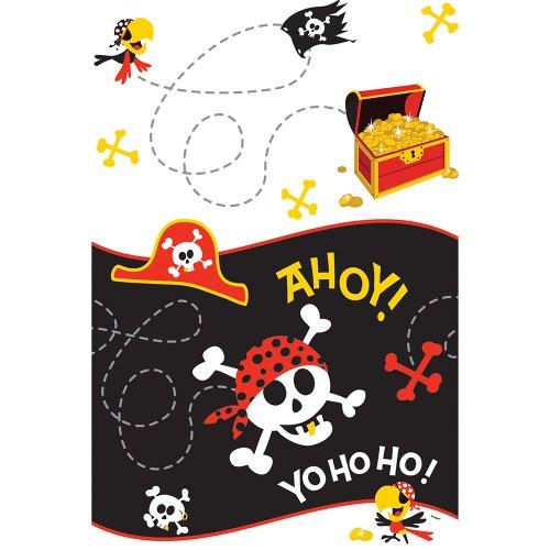 Goudtand piraat Plastic tafelkleed. Tablecover (Single) rood