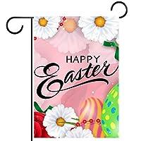 ウェルカムガーデンフラッグ(12x18inch)両面垂直ヤード屋外装飾,ピンクの背景に色の卵のバラとカモミールと幸せなイースターのレタリング