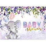 Homewelle Purple Elephant Baby Shower Backdrop Little Princess Girl Watercolor Blue Flower Floral First Birthday Child 7Wx5H Feet Decoration Celebration Props Party Photo Shoot Vinyl Cloth