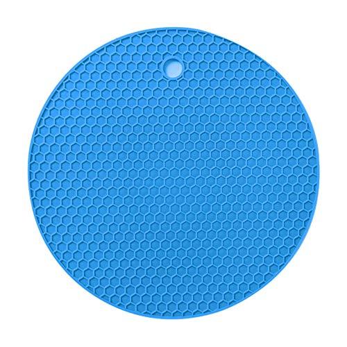 Laputa Nido De Abeja Redondo Antideslizante Aislamiento Térmico De Silicona Mantel Mantel Tazón Taza Almohadilla Suministros De Decoración del Hogar Azul
