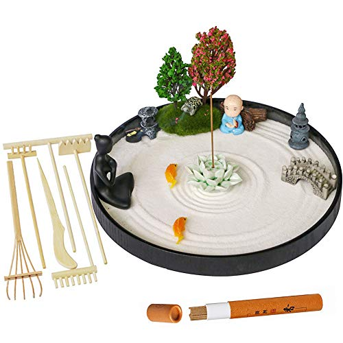 Japanese Desktop Meditation Zen Garden - Deluxe Large Office Tabletop Mini Rock Sand Garden Rake Tools Kit Tray Accessories Incense Holder Meditating Yoga Statue Sandbox Home Table Decor Women Gifts