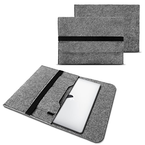 NAUC Laptop Tasche Sleeve Hülle Schutztasche Filz Cover für Tablets & Notebooks Farbauswahl kompatibel für Samsung Apple Asus Medion Lenovo, Farben:Hell Grau, Größe:12.5-13.3 Zoll