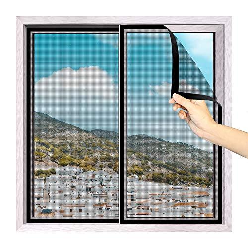 fowong Mosquitera para ventanas de 250 x 120 cm, fibra de vidrio, protección contra insectos, con cierre de velcro autoadhesivo, cortable para diferentes tamaños, color gris