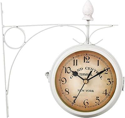 GXQDL-01 Reloj de Pared, Reloj de Doble Cara Vintage al Aire Libre del jardín Europeo, estación de Reloj de Cuarzo silencioso sin tictac, Reloj de Decoraciones de Pared Retro (Color : White):