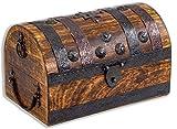 Brynnberg Cofre del tesoro grande 28 x 16,5 x 15 cm madera maciza marrón cofre...