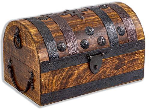 Cofre del tesoro grande 28 x 16,5 x 15 cm madera maciza marrón cofre del tesoro