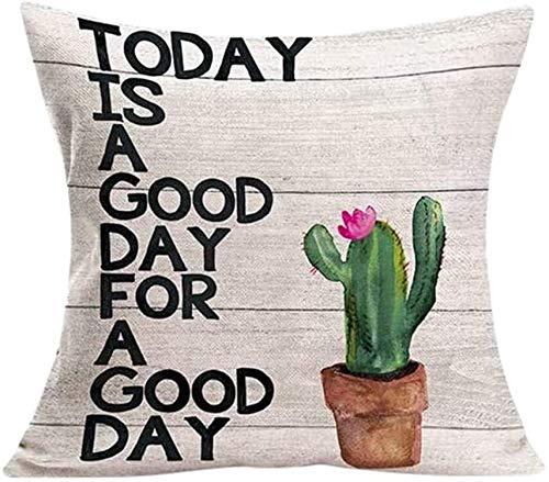 Nyfcc Pillowcase, Cactus Succulent Plants Pillow Covers Watercolor Flower Cushion Cover, Home & Garden (Color : K, Size : -)