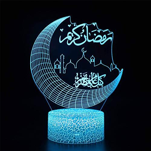 Lámpara Noche 3D Para Eid Mubarak, Decoración De Marquesina Luna Creciente Para Bricolaje Luces LED De Ramadán Eid 19x14 Cm Lámparas Noche Para Guardería Eid Al-Fitr Para Islam Musulmán Ramadán