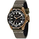 SPINNAKER Men's Tesei (Bronze) 42mm Black Leather Band Metal Case Automatic Analog Watch SP-5060-04