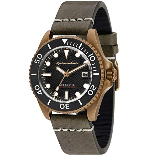 SPINNAKER Men's Tesei (Bronze) 42mm Black Leather Band Metal Case Automatic...