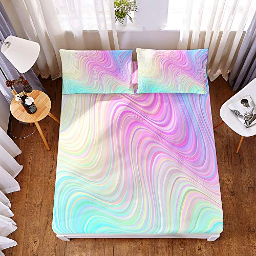 Bedding Fitted Sheets with 2 Pillowcases, Morbuy Abstract Graffiti Print Bedding Microfiber Soft Fade Resistant Bed Sheets for Single Double King Size Bedsheet Extra Deep 30cm (C,200 * 220 * 30cm)