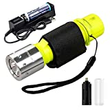 HECLOUD Scuba Diving Flashlight Snorkeling Dive Torch Light IPX8 Waterproof LED Submarine Underwater Lights with Rechargeable 18650 Battery & Charger, 1100 Lumens 3 Modes for Underwater Sports