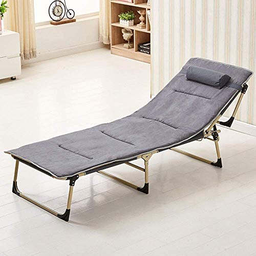 DAGCOT Sillas reclinables Plegable al Aire Libre Tumbona sillas de jardín reclinable Plegable, Oficina Individual Siesta Almuerzo Cama Acompañando a la Cama Estable Fuerte ángulo Ajustable Catre