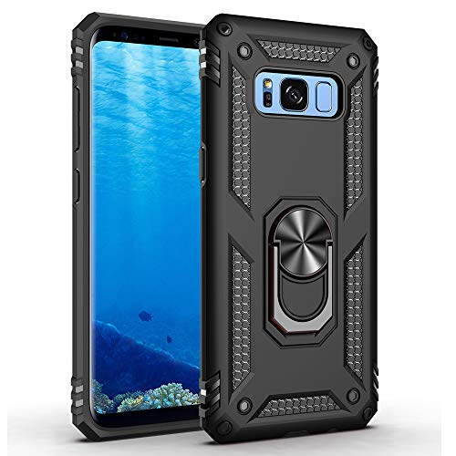 Military Grade Drop Impact for Samsung Galaxy S8 Plus Case(Galaxy S8+) 6.2 inch 360 Metal Rotating Ring Kickstand Holder Built-in Magnetic Car Mount Armor Cover for Galaxy S8+ Phone Case (Black)