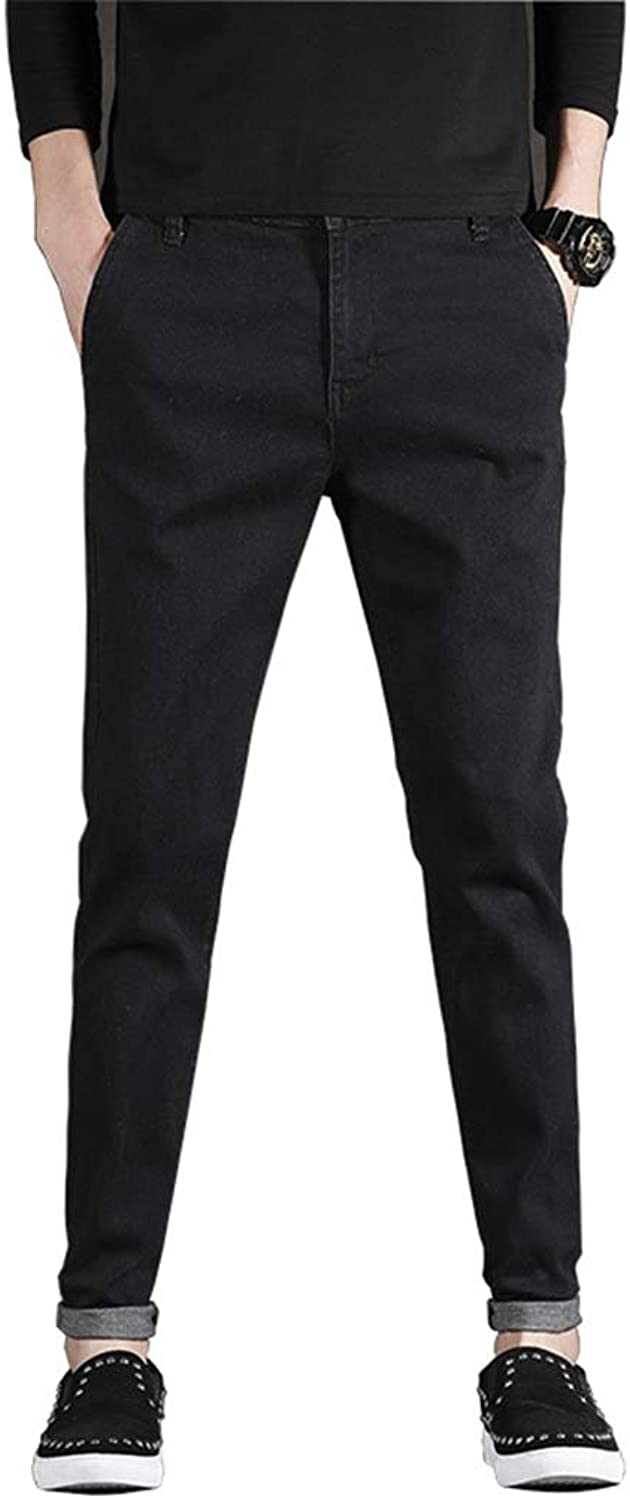 19f4d5b02533d Men's Jeans Stretch Section Slim Solid color Feet Pants Pants Pants Korean  Version of The Trend of Black Casual Long Pants Men (color Black, Size 34)  3606d1