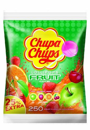 Chupa Chups Lollipops Fruit, Sucettes de Fruits, Pomme, Fraise, Orange, Cerise, 250 Pièces, 3 kg