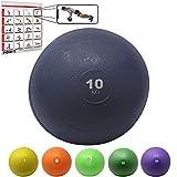 Photo Gallery powrx slam ball palla medica 10 kg - ideale per esercizi di »functional fitness«, potenziamento e tonificazione muscolare - contenuto in sabbia ed effetto anti-rimbalzo + pdf workout (blu)