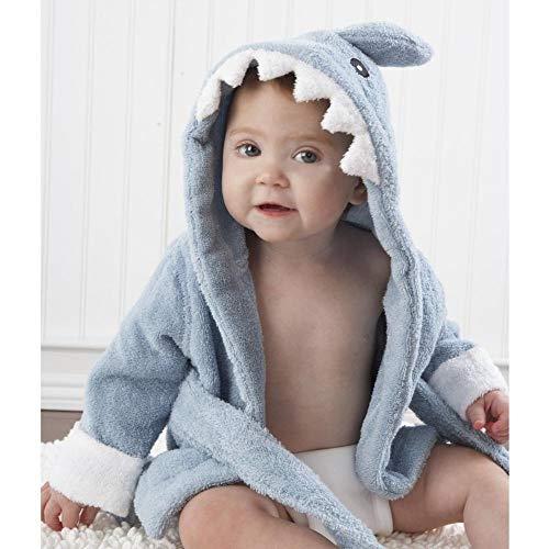 ZBXCVZH Albornoz con capucha modelo de animal para bebé, toalla de spa de dibujos animados, bata de baño para niños, toallas de playa (color: azul sahrk)