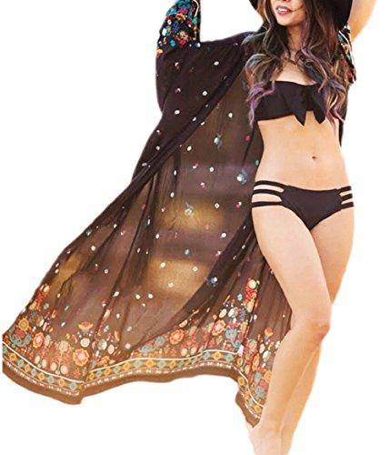 Bsubseach Women's Loose Black Print Long Sleeve Chiffon Kimono Cardigan Kaftan Cover Up Swimwear Bathing Suits