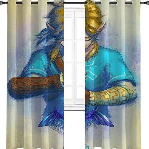 Cortinas opacas Breath of the Wild Zelda con ojales, aislantes térmicos, oscurecimiento de habitación, poliéster, multicolor, 2 panel(36