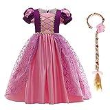 IBTOM CASTLE - Disfraz infantil de princesa Rapunzel, largo, para fiestas, carnaval, dama de honor, vestido de fiesta de cumpleaños, tallas 98-140 morado oscuro 3-4 Años