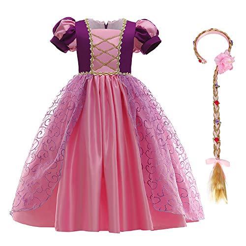 IBTOM CASTLE Kinder Mädchen Kostüm Prinzessin Rapunzel Lang Kleid Party Cosplay Verkleidung Festlich Karneval Festkleid Brautjungfer Maxikleid Geburtstagsfeier Fest-Kleid Dunkelviolett 3-4 Jahre
